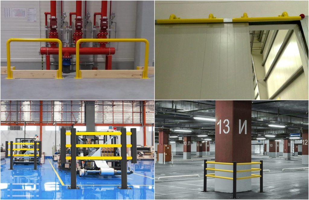 przykłady zastosowania odbojników magazynowych chroniących elementy konstrukcyjne hali